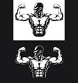 silhouette gym bodybuilder flexing arm muscles vector image