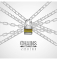 Silver chains attached by a padlock vector image