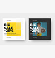 square banner design for big sale with yellow vector image vector image