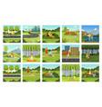 summer outdoor activities set people relaxing vector image
