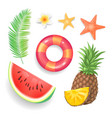 summer seasonal icons set vector image vector image