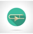 Trombone round flat color icon vector image vector image