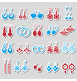 various color ladies earrings types stickers set vector image vector image