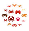 various crab icons set in flat style vector image vector image