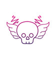 color line skull with wings rock art symbol vector image