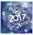 2017 year hand lettering and doodles elements vector image