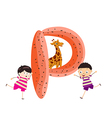 a Kid Leaning on a Letter P vector image vector image