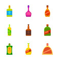 alcoholic bottle icons set cartoon style vector image vector image