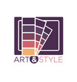 art and style logotype with color palette isolated vector image