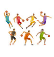 basketball players sport concept cartoon vector image vector image