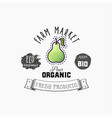 bio sticker and eco products pear web element vector image
