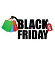 black friday with paper bag in hand vector image vector image