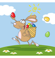 Brown Bunny Participating In An Easter Egg Hunt vector image