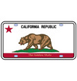 california license plate flag vector image vector image