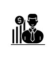 career growth manager black icon sign on vector image