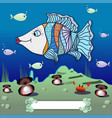 cartoon fish in the depths of the ocean vector image vector image