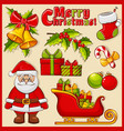 christmas and new year icons decoration set vector image