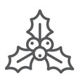christmas holly berry line icon xmas and winter vector image