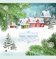 christmas winter town vector image vector image
