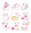 collection cute white rats in kawaii style vector image vector image