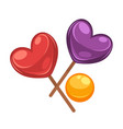 colorful lollipop candies set in shapes heart vector image vector image