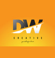 dw d w letter modern logo design with yellow vector image vector image