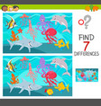 find differences game with sea animals vector image vector image