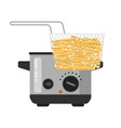 fried potatoes in grid on deep fryers vector image vector image