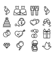 gay wedding icons set white vector image vector image