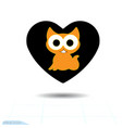 heart black icon love symbol cute kitty in vector image vector image