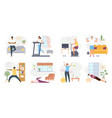 home exercises people meditate do yoga sport vector image vector image