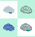 human brain icon set in line and flat styles vector image vector image