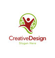 human child leaf naturally modern logo vector image vector image
