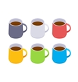 Isometric colored coffee mugs vector image