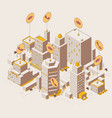 isometric outdoor city view with calls and wi-fi vector image