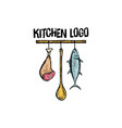 kitchen logo design vector image vector image