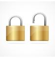 locked and unlocked padlock gold vector image vector image