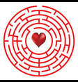 Love heart maze or labyrinth vector image vector image