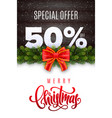 merry christmas holiday sale 50 percent off vector image