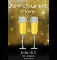 new year party flyer design with glasses of vector image