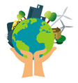 our planet is in our hands on white background vector image
