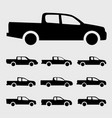 pickup truck icons set vector image