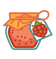 raspberry marmalade jar vector image