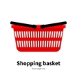 red plastic empty shopping basket vector image