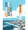 retro travel poster design lighthouse and coast vector image vector image