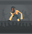 rock musician brutal man singing with microphone vector image vector image