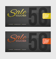 Sale coupon or gift voucher with gold inscription vector image vector image