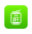 sale tag 75 percent off icon digital green vector image vector image