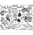 seamless pattern with tropical animals in vector image vector image