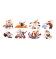 set different people in fire flat vector image vector image